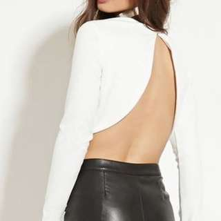 Forever 21 White Backless Crop Too