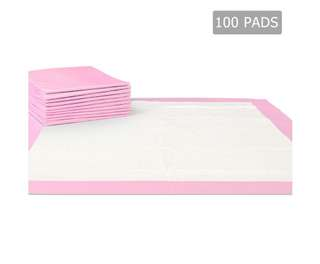 100 Puppy Pet Dog Toilet Training Pads Pink