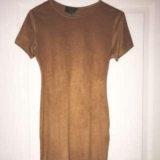 Suede Tshirt Dress (Camel)