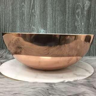 Round Rose Gold Display Bowl 30cm