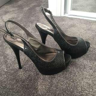 Qupid Black Heels Size 7 1/2
