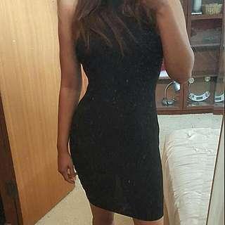 Top Shop Ribbed Black Dress 10
