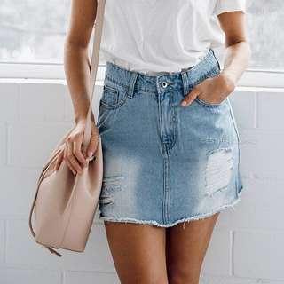 Esther Boutique Blue Wash Denim Skirt