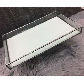 Gorgeous Bevel Glass Tray White & Chrome