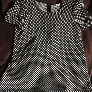 Black & White Poker-dots Dress Top