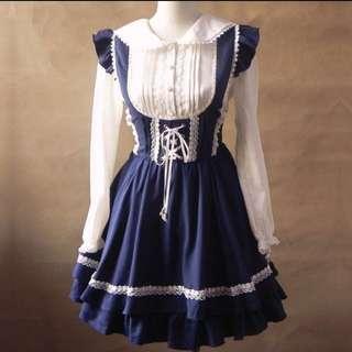 全新日系 軟妹 女僕 Lolita 吊帶裙 襯衫