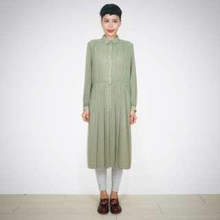 全新日本帶回古著草綠色雪紡印花長洋裝(長109/胸寬54)