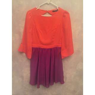 2 Colour Dress With Bell Sleeves And Open Back