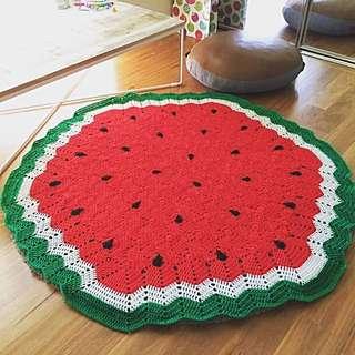 Handmade crochet watermelon rug