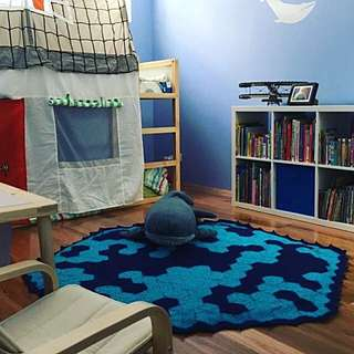 Handmade crochet ocean floor rug