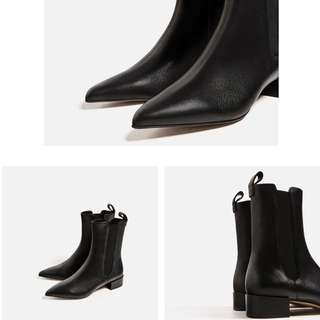 zara當季真皮短靴 低跟41號 大尺碼女鞋26