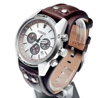 (NEGO NO AFGAN) jam tangan fossil ch2565 original fossil coachman chronograph silver dark brown leather strap