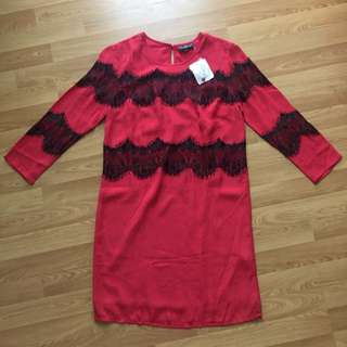 Topshop Red Lace Dress Brand New Small