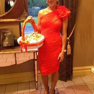 Sz8 Grapefruit Coloured Dress