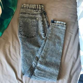 Factorie Mid Rise Acid Washed Jeggings