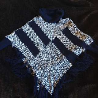 Blue And White Knitted Poncho Jumper