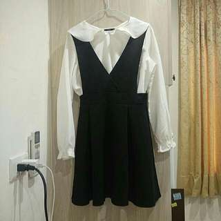 氣質大V領洋裝(不含白上衣)