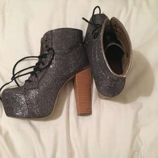 Silver Heel Boots Size 9