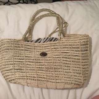 Metallic Woven Beach Bag