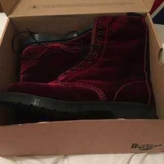 Size 10 Red Velvet Doc Martins New With Box