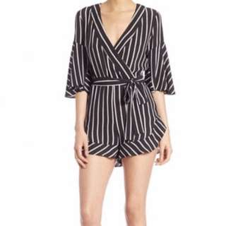 Nicholas Striped Short Wrap Playsuit Size 6