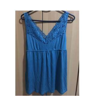 Forever 21 Teal V-neck Lace Top