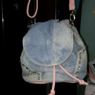 Sling Bag jeans and pink [REPRICE]