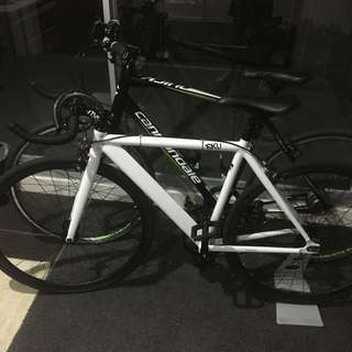 6KU white Fixie Bicycle, Bike (Bullhorn Bars + Flip Flop Hub) Thick Slick Tyres