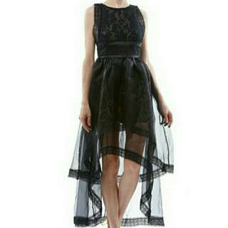 Embroidered dress with sheer organza layered skirt (White)