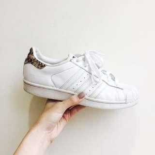 Adidas Superstar 全白蛇紋尾 US6 /23cm