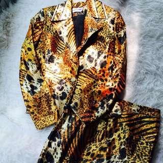 Leonard Paris Leopard Print Blazer Set
