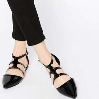 ASOS LIMIT Black Patent Pointed Ballet Flats With Ankle Strap
