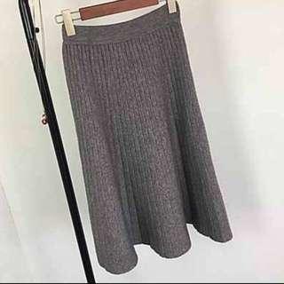 灰色針織傘裙