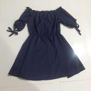 Navy Babydoll Off Shoulder Dress