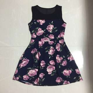 Black Mesh Pink Rose Dress