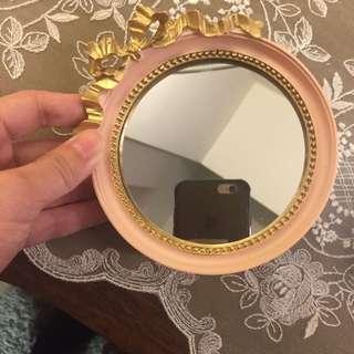 隨身立鏡/首飾盤(粉紅色)