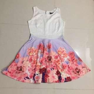 Half White Skater Dress