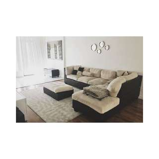 MOVING SALE !!! Beige Sectional + Ottoman