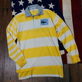 古著 Vintage 90'S LACOSTE  橫條紋復古polo衫 Made in U.S.A  Made in U.S.A