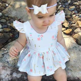 ✔️STOCK - SWEET FLORAL HEART CUT OUT AT BACK BABY TODDLER GIRL CASUAL DRESS TOP KIDS CHILDREN CLOTHING
