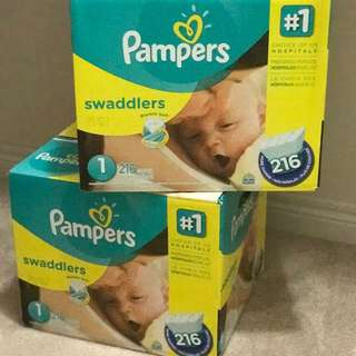 2 Boxes Of Pampers Swaddlers #1