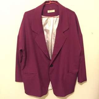 ✨紫紅色復古寬鬆西裝外套✨