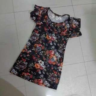 Mini Dress Black Flower