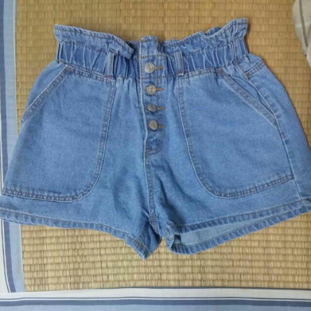 韓版高腰收腰鬆緊款淺藍短褲