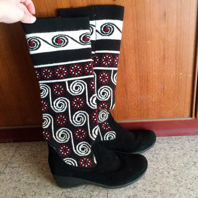 針織花紋長靴