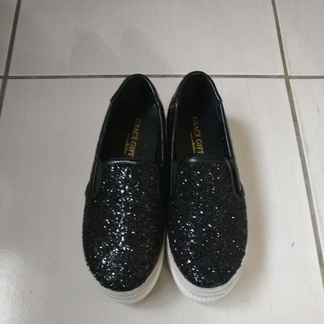 厚低閃亮碎石休閒鞋
