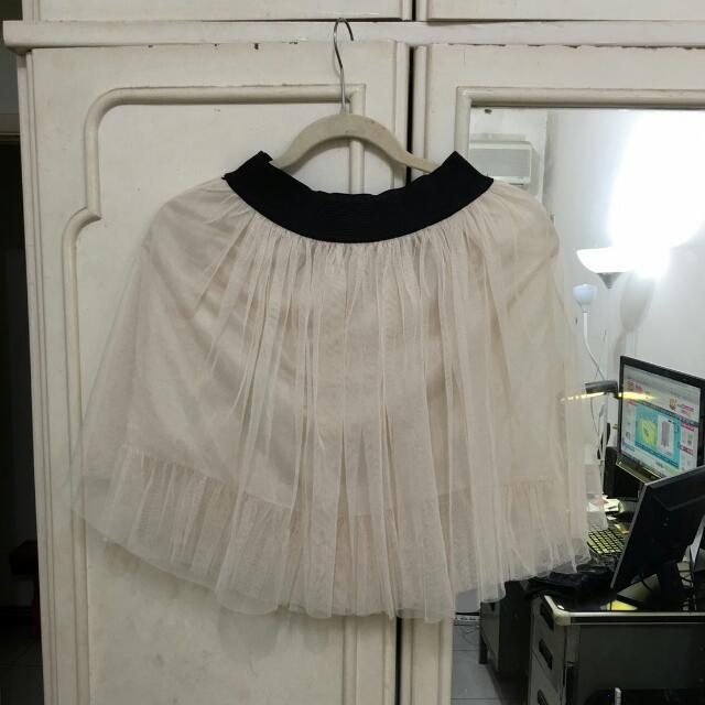 短版紗裙(白)