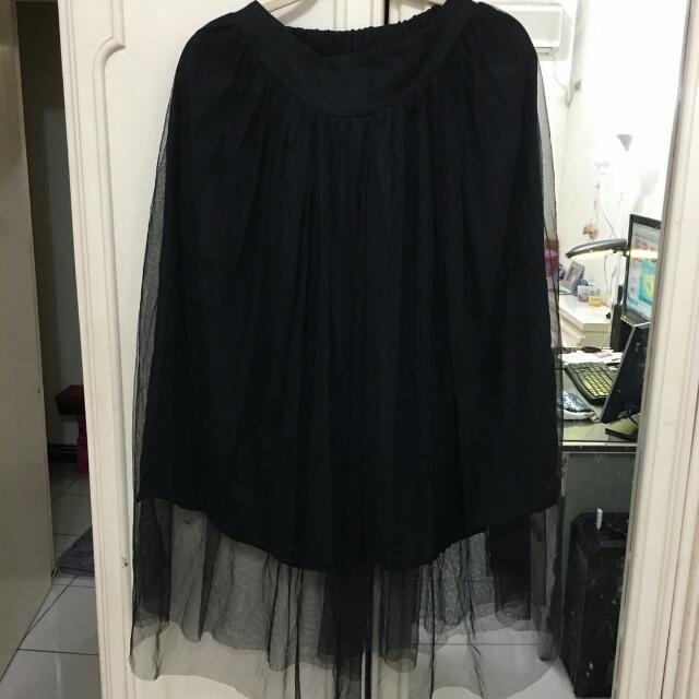長版紗裙(黑色)