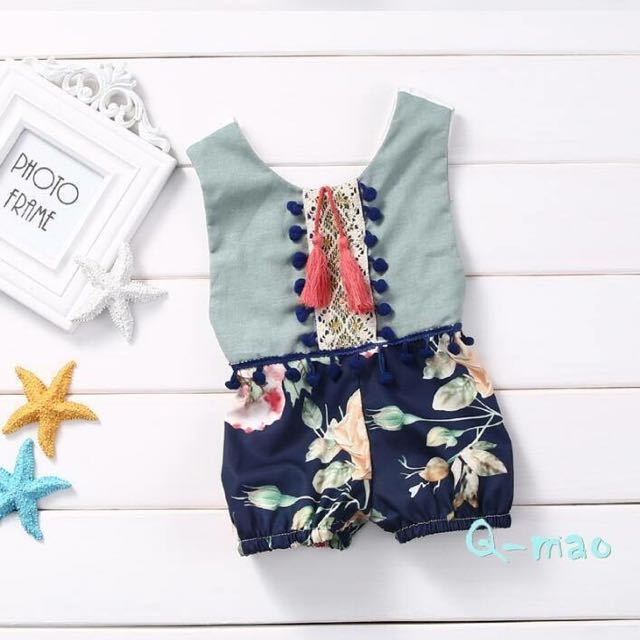現貨🔥夏季女寶寶露背連身衣/深藍🔥