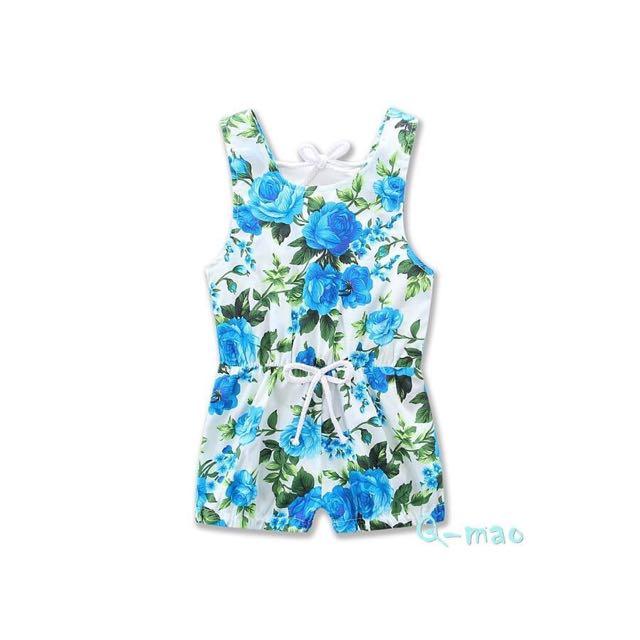 現貨免運🔥夏季女寶寶露背連身衣/藍色🔥